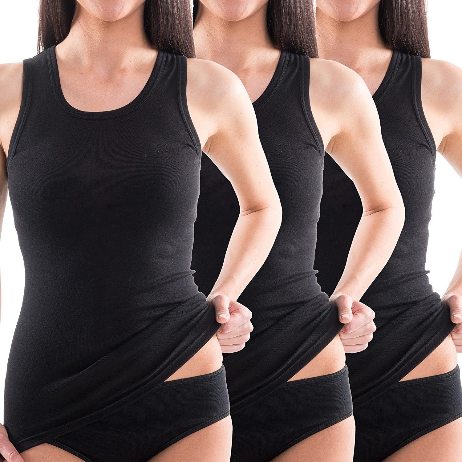 HERMKO 1325 Pack of 3 Womens Long Sleeveless T-Shirt Made of 100/% Cotton Longshirt for Over or Under
