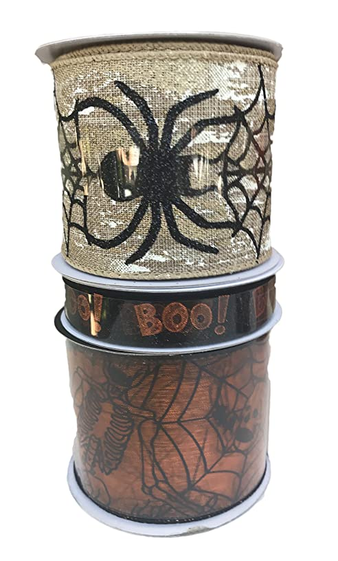 Spider Web with Crawling Spiders Sheer Boo and Orange Sheer Spider Webs and Skeletons Bundle of Three Halloween Themed Ribbons