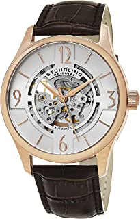 Stuhrling Original Men's 'Legacy' Automatic Stainless Steel and Brown Leather Dress Watch (Model: 557.04)