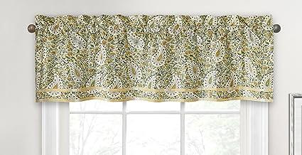 """WAVERLY الستائر للنوافذ - بيزلي فيرفاين 52"""" x 16"""" ستارة قصيرة نافذة ستائر الحمام ، غرفة المعيشة والمطابخ ، الربيع"""