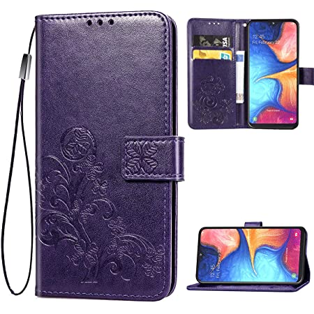 Galaxy A10E Wallet Case, [Flower Embossed] Premium PU Leather Flip Protective Case Cover with Card Holder and Stand for Samsung Galaxy A10E 2019 Release (Purple)