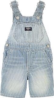 OshKosh B'Gosh Baby Boys' Hickory Striped Soft Denim Knit Shortalls with Adjustable Straps, Blue, White ( Size 3-24 Months)