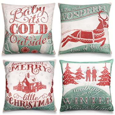 Vsadey - Juego de 4 fundas de almohada navideñas para sofá (18.0 x 18.0in), diseño de Navidad