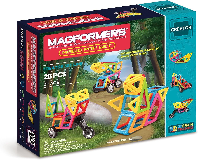 Magformers Creator Magic Pop Set (25Pieces) Magnetic    Building      Blocks, Educational  Magnetic    Tiles Kit , Magnetic    Construction  STEM Set Includes Wheels