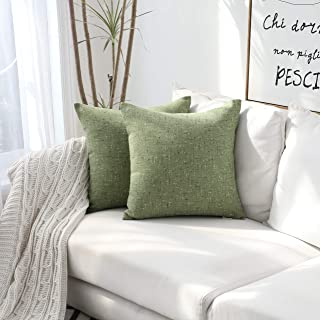 Kevin Textile Decorative Lined Linen Pillow Cover Euro Throw Pillow Case Sham Toss Cushion Covers for Couch, 2 Pack, 18x18 inches, Avocado Green