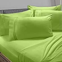Clara Clark Premier 1800 Collection 6pc Bed Sheet Set with Extra Pillowcases - King, Garden Green