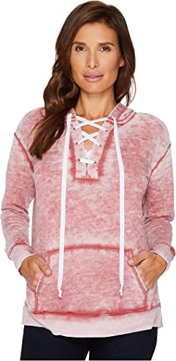 Allen Allen - Long Sleeve Lace Front Pullover Hoodie