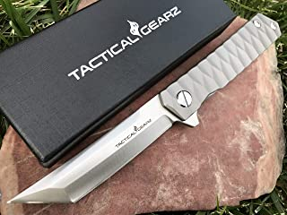 TACTICAL GEARZ TG Saint T, Tc4 Titanium EDC Folding Knife w/Sheath! Fast Ball Bearing System Open, Razor Sharp CPM-D2 Steel Blade!