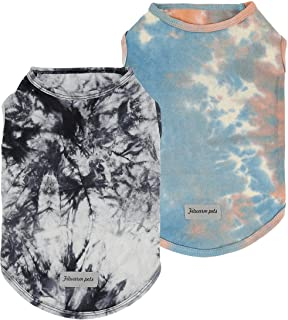 Fitwarm 2-Pack 100% Cotton Tie Dye Dog Clothes with Reflective Label Dog Shirts Doggie T-Shirts Puppy Tank Top Vest Tee Su...