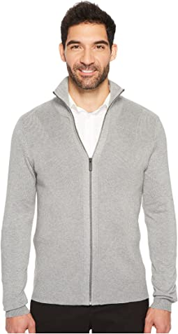 Perry Ellis - Solid Rib Full Zip Sweater