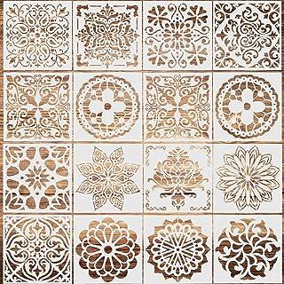 Dokpav Lot de 16 Pochoir Mandala de Peinture Pochoirs Réutilisables Motif Mandala Découpe Laser, pour Cartes Scrapbooking ...
