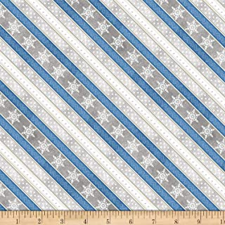 Wilmington Prints Welcome Winter! Ticking Stripe Gray Fabric by The Yard