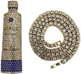 BLINGFACTORY Hip Hop Iced CIROC Bottle Pendant & 4mm 18