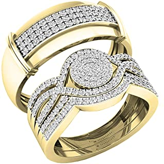 Dazzlingrock Collection 0.65 Carat (ctw) Round Diamond Mens and Womens Trio Set Cluster Ring With Enhancer Guard Band, 10K...