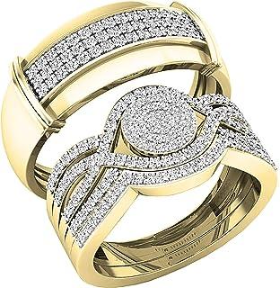 مجموعة دازلينج روك 0.65 قيراط (ctw) جولة الماس للرجال والنساء مجموعة من ثلاث خواتم العنقودية مع تعزيز الفرق، الذهب الأبيض ...