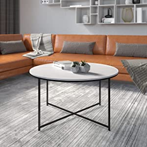 Flash Furniture Hampstead Collection Coffee Table - Modern White Marble Finish Coffee Table - Crisscross Matte Gold Frame