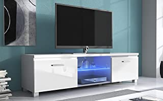 SelectionHome - Módulo salón Comedor para TV con Luces LED Color Blanco Mate y Blanco Brillo Lacado Medidas: 150x 40 x 4...