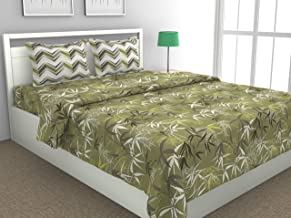Loreto - A Quality Linen Brand 144 TC 100% Cotton Double Bedsheet with 2 Pillow Covers - Green, Multi Colour