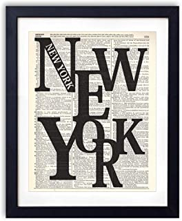 New York Typography Upcycled Vintage Dictionary Art Print 8x10