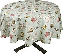 Raymond Waites Premium Quality Table Cloth - Table linen (Aqua/sealife) - Round Tablecloth 70 in. Diameter