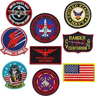Top Gun Patches Set United Sates Navy Fighter Weapons School, American Flag, CV-61 USS Ranger 100 Centurion, Tom Cat, Pete Mitchell Maverick, VF-1 Embroidered Morale Patch Hook Loop Backing 9PC