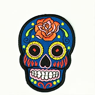 Patch Portal Blue Mexican Skull Patches for Jackets Clothes Sugar Candy Day of The Dead Motorcycle Biker 3.5 Inches Aztec Face Mask Mayan Embroidered Chopper MC Club DIY Appliques Sew Iron on
