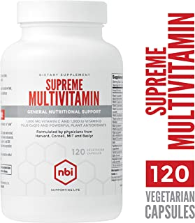 NBI Supreme Daily Multivitamin with Vitamin A, C, D, E, K, B6, and B12 | One A Day Multi Mineral Supplement for Men & Women | 120ct Veggie Capsules