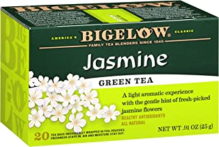 Bigelow Green Tea with Jasmine Caffeinated Individual Green Tea Bags, for Hot Tea or Iced Tea, 20 Count (Pack of 6), 120 Tea Bags Total