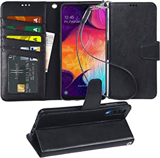 Arae Wallet Case for Samsung Galaxy A50 PU Leather flip case Cover [Stand Feature] with Wrist Strap and [4-Slots] ID&Credit Cards Pocket for Samsung Galaxy A50, Black