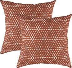 TreeWool Decorative Square Throw Pillowcases Set Hexagonal Honeycomb Accent 100% Cotton Linen Cushion Cases Pillow Covers (18 x 18 Inches / 45 x 45 cm; Rust Brown in Cream Background) - Pack of 2