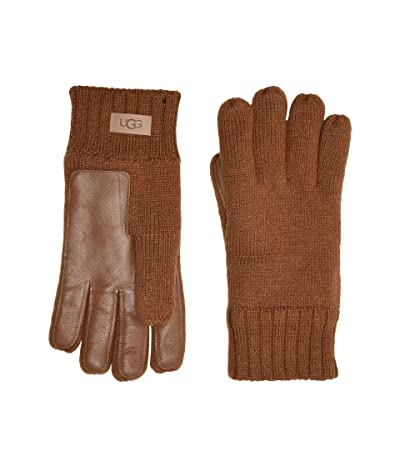 UGG Knit Tech Leather Palm Gloves with Sherpa Lining (Chestnut) Extreme Cold Weather Gloves