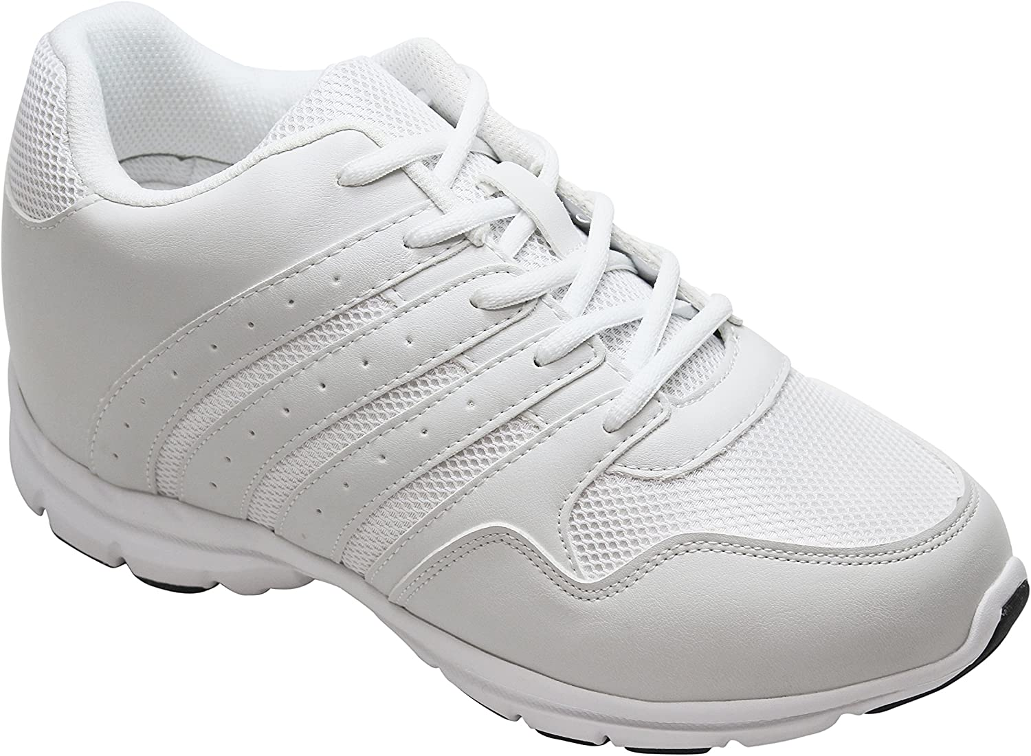 CALTO Men's Invisible Height Increasing Elevator shoes - White Leather Mesh Lace-up Lightweight Sporty Trainer Sneakers - 3.2 Inches Taller - G8818