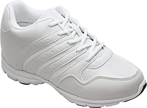 CALTO Men's Invisible Height Increasing Elevator Shoes - White Leather/Mesh Lace-up Lightweight Sporty Trainer Sneakers - 3.2 Inches Taller - G8818