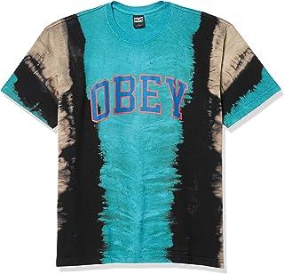 Obey Men's Academic Vertical TIE DYE SS TEE, Blue, Small