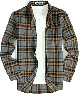 Mens Casual Button Down Shirts Long-Sleeve Slim Fit Flannel Shirt for Men