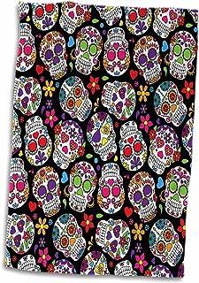 "3dRose 3D Rose Colorful Tossed Sugar Skulls Pattern Hand Towel, 15"" X 22"", Multicolor"