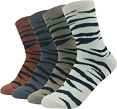 JJMax Women's Animal Print Cotton Blend Fun Socks: Leopard, Zebra