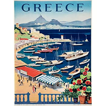 A SLICE IN TIME Greece Greek Island Isle Isles Athen's Bay Europe European Vintage Travel Advertisement Art Wall Decor Poster Print. 10 x 13.5 inches