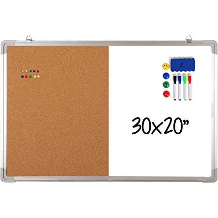 """Combination Whiteboard Bulletin Board Set - Dry Erase / Cork Board 30 x 20"""" with 1 Magnetic Dry Eraser, 4 Markers, 4 Magnets and 10 Pins - Big Combo Tack White Board for Home Office Cubicle Desk"""