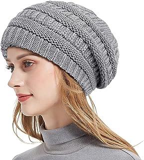 قبعات Roniky للشتاء متماسكة للنساء، قبعة مكتنزة مبطنة بالساتان الحرير لينة تمتد كابل متماسكة دافئة قبعة صغيرة مترهلة