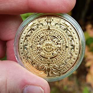 Gift Boxed Legendary Aztec Calendar Stone Design Coin with Ancient Artifact Finish In Black Metal Pendant Setting