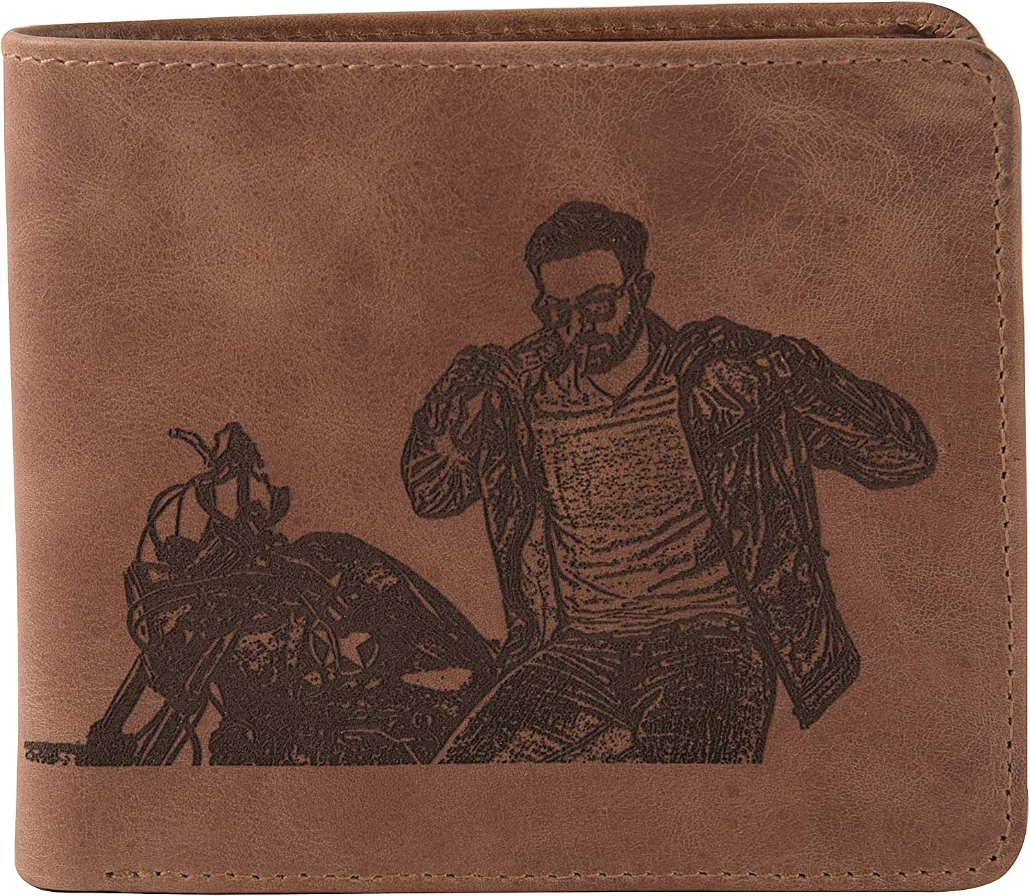 Customized Engraved Leather Wallet, Design your own wallet engrave photo on leather wallet RFID protected, Bifold Wallet, Multi Slots , Personalized Photo ,Brown colour
