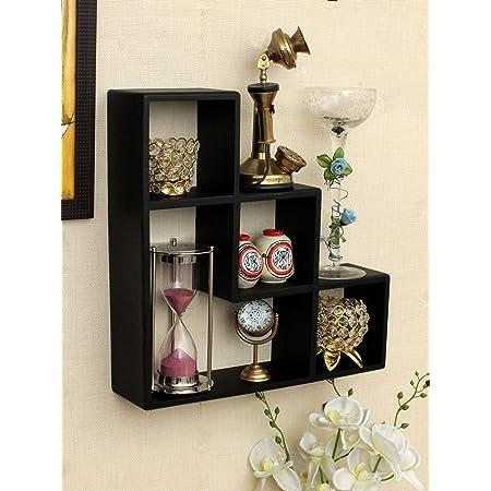 Home Sparkle L Shaped Floating Wall Shelfs | Wall Mounted Shelves for Living Room Home Decor (Black)