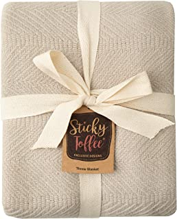 Sticky Toffee Woven Cotton Lightweight Throw Blanket   Warm and Soft Blanket for Couch Sofa and Bed   Tan   60 in x 50 in