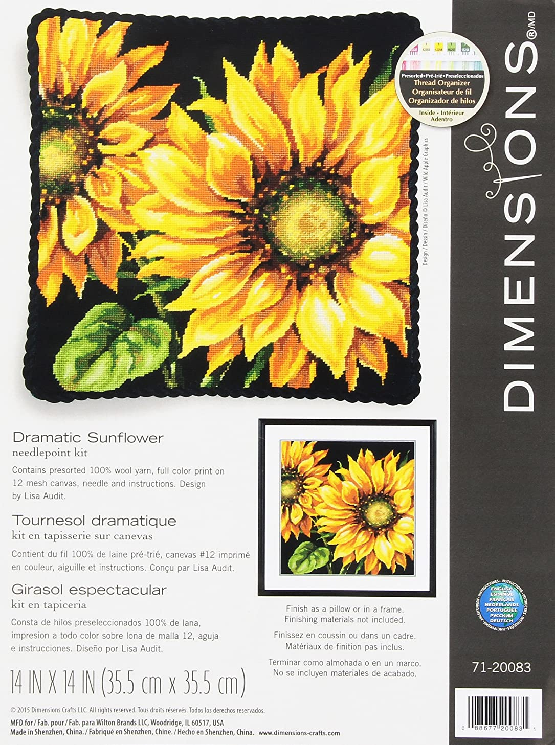 Dimensions Needlepoint Kit, Dramatic Sunflower, 14'' x 14''