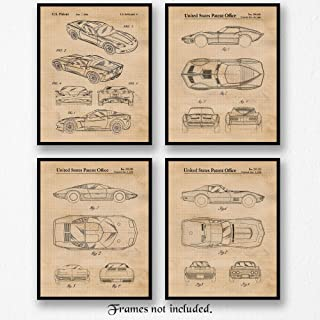 Classic Corvette Patent Poster Prints, Set of 4 (8x10) Unframed Photos, Wall Art Decor Gifts Under 20 for Home, Office, Man Cave, College, Student, Teacher, Astronauts, American Cars & Coffee Fan