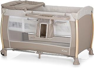 iCOO Starlight Reisebett ab Geburt bis 15 kg, mit Wickelauflage, Wickelstation, 2 Ebene, Rollen, Tasche, klein faltbar – Beige