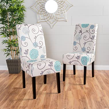 Christopher Knight Home Pertica Fabric Dining Chairs, 2-Pcs Set, White And Blue Floral
