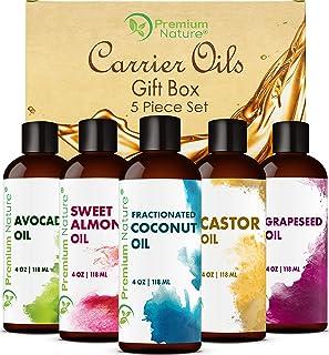 Aceites Portadores para Aceites Esenciales - 5 Piezas Set de Obsequios Aceite de Coco Ricino Semilla de Uva Aguacate y Almendras dulces