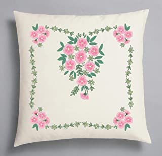 Kamaca Kit de punto de cruz de flores Sinfonía, punto de tallo, punto plano predibujado, 100% algodón, funda de cojín de 40 x 40 cm para bordar (funda de cojín de 40 x 40 cm)